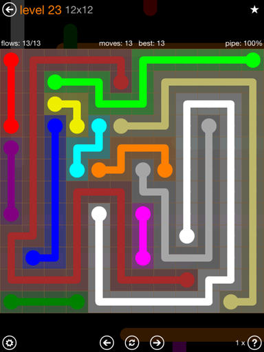 Solution and Answer to the Puzzle for Flow Jumbo Pack Set 12x12 Level 23