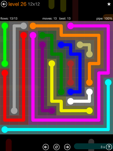 Solution and Answer to the Puzzle for Flow Jumbo Pack Set 12x12 Level 26