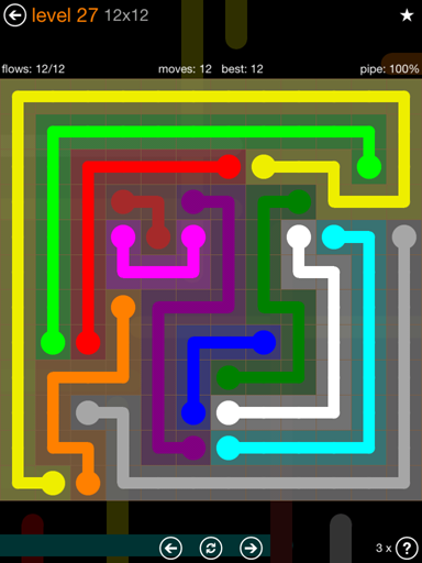 Solution and Answer to the Puzzle for Flow Jumbo Pack Set 12x12 Level 27