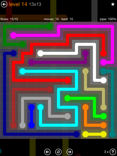 Solution and Answer to the Puzzle for Flow Jumbo Pack Set 13x13 Level 14