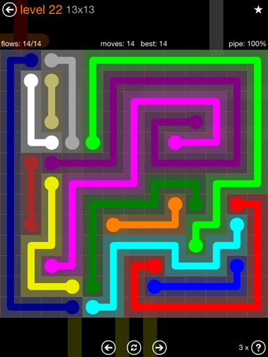 Solution and Answer to the Puzzle for Flow Jumbo Pack Set 13x13 Level 22