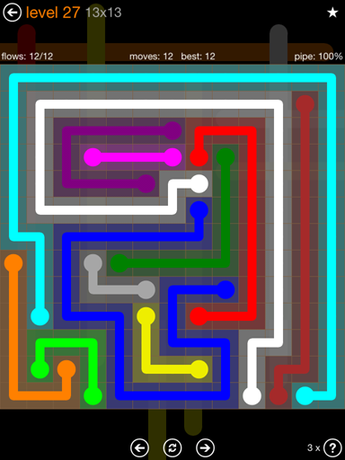 Solution and Answer to the Puzzle for Flow Jumbo Pack Set 13x13 Level 27