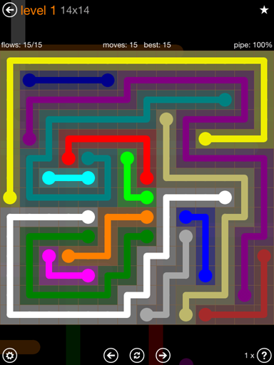Solution and Answer to the Puzzle for Flow Jumbo Pack Set 14x14 Level 1