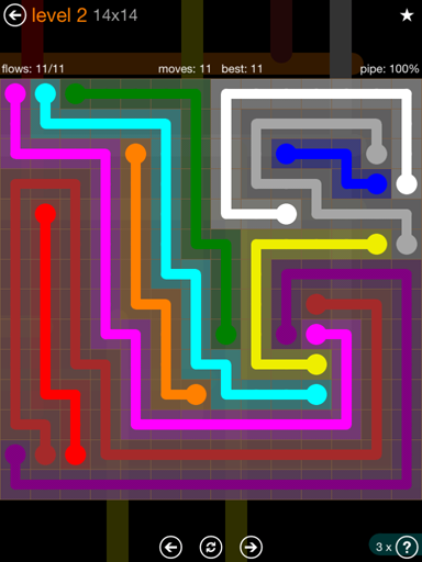 Solution and Answer to the Puzzle for Flow Jumbo Pack Set 14x14 Level 2