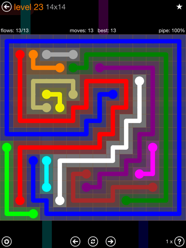 Solution and Answer to the Puzzle for Flow Jumbo Pack Set 14x14 Level 23