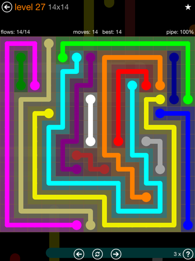 Solution and Answer to the Puzzle for Flow Jumbo Pack Set 14x14 Level 27
