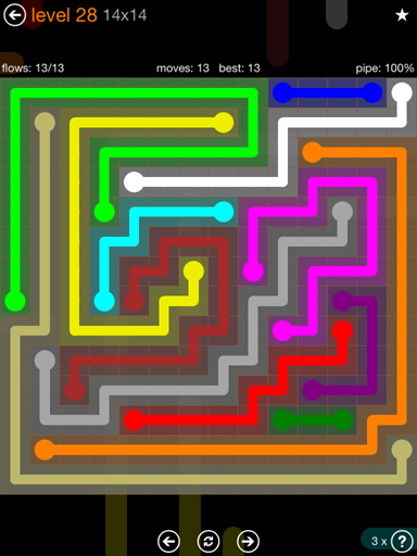 Solution and Answer to the Puzzle for Flow Jumbo Pack Set 14x14 Level 28