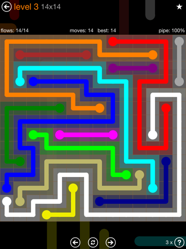 Solution and Answer to the Puzzle for Flow Jumbo Pack Set 14x14 Level 3