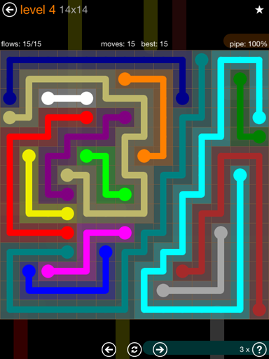 Solution and Answer to the Puzzle for Flow Jumbo Pack Set 14x14 Level 4
