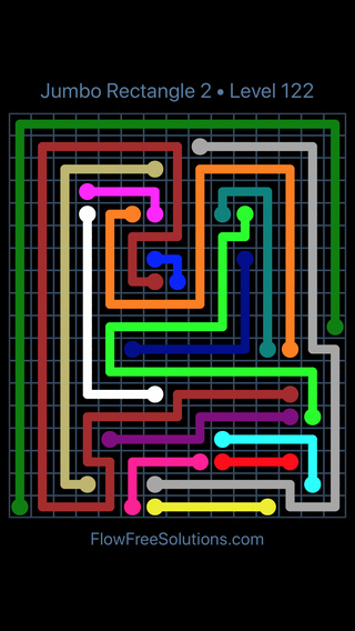 Solution and Answer to the Puzzle for Flow Free Jumbo Rectangle 2 Level 122