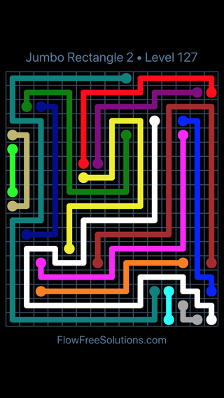 Solution and Answer to the Puzzle for Flow Free Jumbo Rectangle 2 Level 127