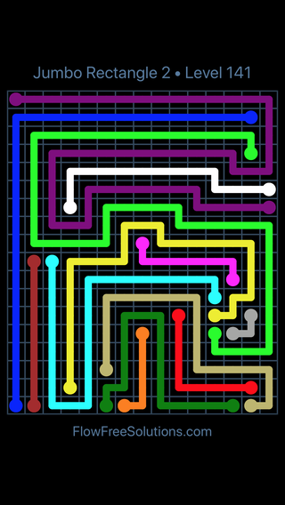 Solution and Answer to the Puzzle for Flow Free Jumbo Rectangle 2 Level 141