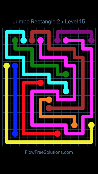 Solution and Answer to the Puzzle for Flow Free Jumbo Rectangle 2 Level 15