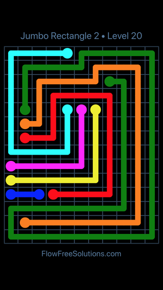 Solution and Answer to the Puzzle for Flow Free Jumbo Rectangle 2 Level 20