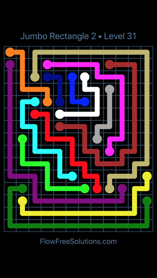 Solution and Answer to the Puzzle for Flow Free Jumbo Rectangle 2 Level 31