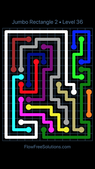 Solution and Answer to the Puzzle for Flow Free Jumbo Rectangle 2 Level 36