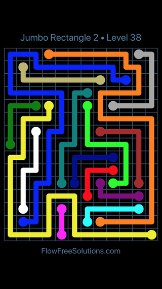 Solution and Answer to the Puzzle for Flow Free Jumbo Rectangle 2 Level 38