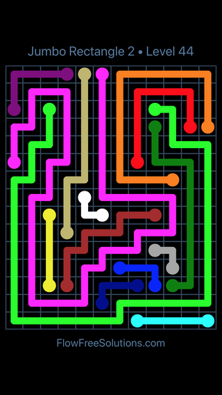 Solution and Answer to the Puzzle for Flow Free Jumbo Rectangle 2 Level 44