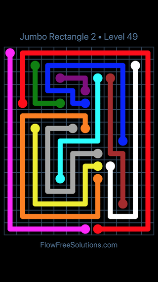 Solution and Answer to the Puzzle for Flow Free Jumbo Rectangle 2 Level 49