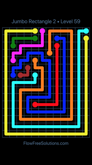 Solution and Answer to the Puzzle for Flow Free Jumbo Rectangle 2 Level 59