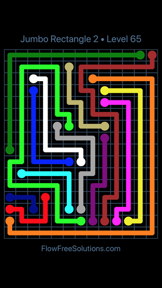 Solution and Answer to the Puzzle for Flow Free Jumbo Rectangle 2 Level 65
