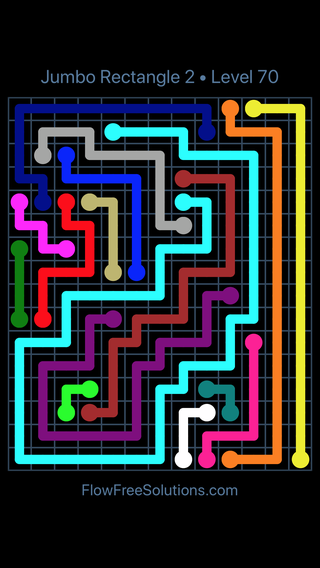 Solution and Answer to the Puzzle for Flow Free Jumbo Rectangle 2 Level 70
