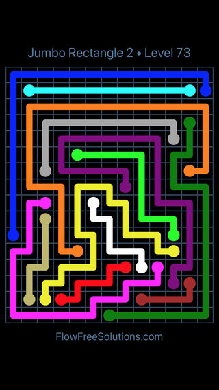 Solution and Answer to the Puzzle for Flow Free Jumbo Rectangle 2 Level 73