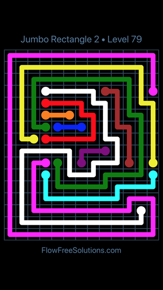 Solution and Answer to the Puzzle for Flow Free Jumbo Rectangle 2 Level 79