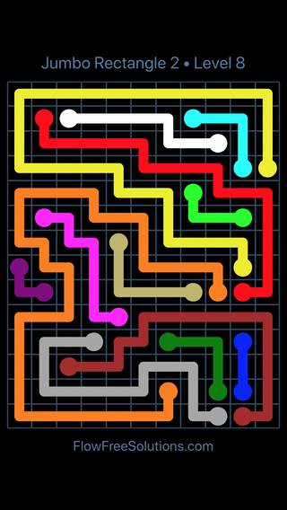 Solution and Answer to the Puzzle for Flow Free Jumbo Rectangle 2 Level 8