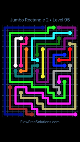 Solution and Answer to the Puzzle for Flow Free Jumbo Rectangle 2 Level 95