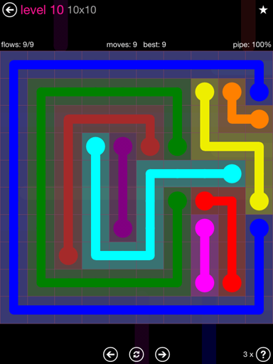 Solution and Answer to the Puzzle for Flow Pink Pack Set 10x10 Level 10
