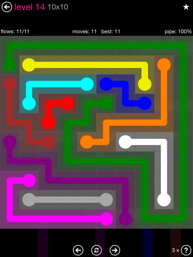 Solution and Answer to the Puzzle for Flow Pink Pack Set 10x10 Level 14