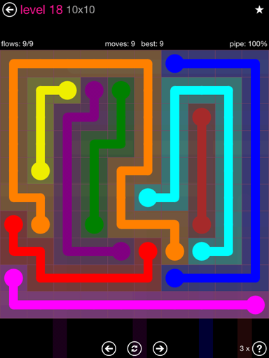 Solution and Answer to the Puzzle for Flow Pink Pack Set 10x10 Level 18