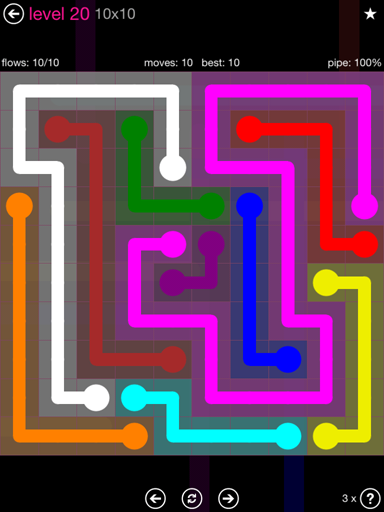 Solution and Answer to the Puzzle for Flow Pink Pack Set 10x10 Level 20