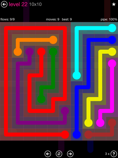 Solution and Answer to the Puzzle for Flow Pink Pack Set 10x10 Level 22