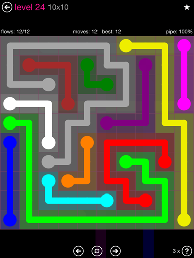 Solution and Answer to the Puzzle for Flow Pink Pack Set 10x10 Level 24