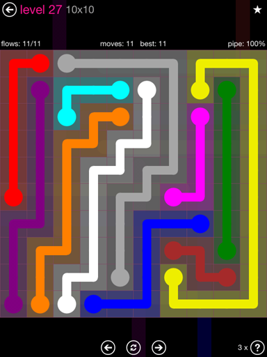 Solution and Answer to the Puzzle for Flow Pink Pack Set 10x10 Level 27