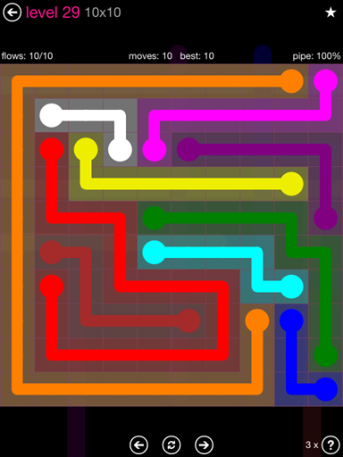 Solution and Answer to the Puzzle for Flow Pink Pack Set 10x10 Level 29