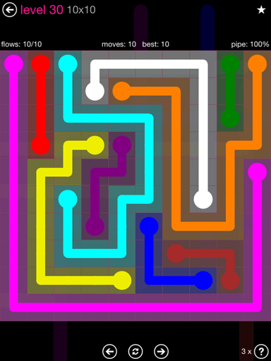 Solution and Answer to the Puzzle for Flow Pink Pack Set 10x10 Level 30