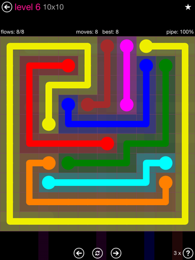 Solution and Answer to the Puzzle for Flow Pink Pack Set 10x10 Level 6