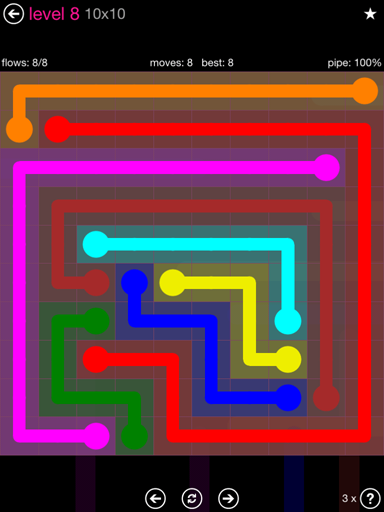 Solution and Answer to the Puzzle for Flow Pink Pack Set 10x10 Level 8