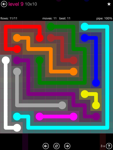 Solution and Answer to the Puzzle for Flow Pink Pack Set 10x10 Level 9