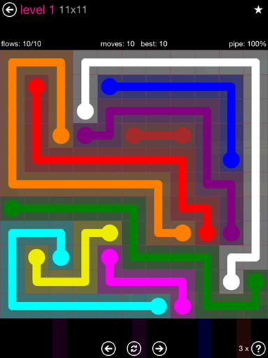 Solution and Answer to the Puzzle for Flow Pink Pack Set 11x11 Level 1