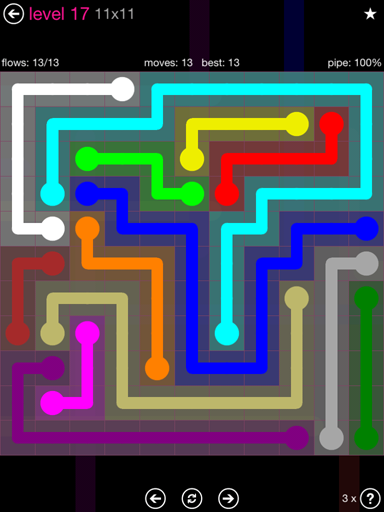 Solution and Answer to the Puzzle for Flow Pink Pack Set 11x11 Level 17