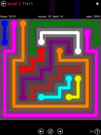 Solution and Answer to the Puzzle for Flow Pink Pack Set 11x11 Level 2