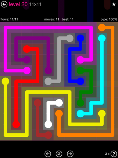 Solution and Answer to the Puzzle for Flow Pink Pack Set 11x11 Level 20