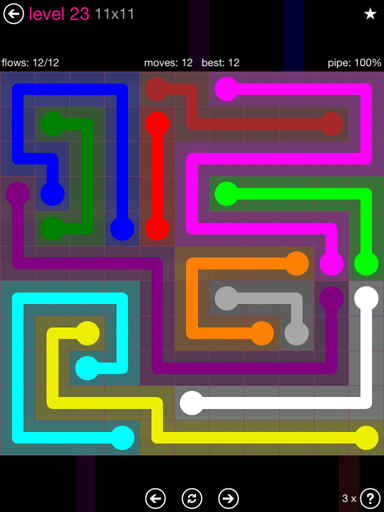 Solution and Answer to the Puzzle for Flow Pink Pack Set 11x11 Level 23