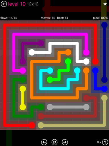 Solution and Answer to the Puzzle for Flow Pink Pack Set 12x12 Level 10