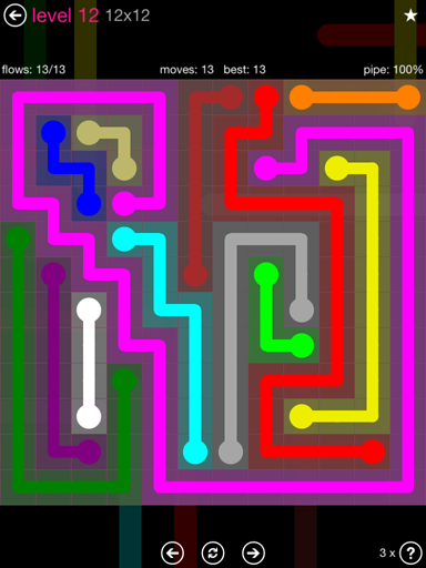Solution and Answer to the Puzzle for Flow Pink Pack Set 12x12 Level 12