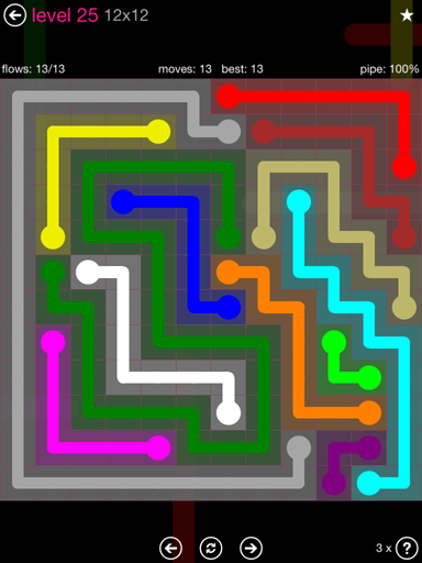 Solution and Answer to the Puzzle for Flow Pink Pack Set 12x12 Level 25